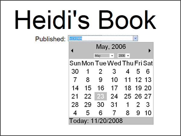 What the page looks like when the publish date is being edited.